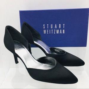 Stuart Weitzman Black Satin Women's Heels Pumps